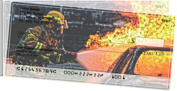 Firefighters in Action Side Tear Personal Checks | STPRO-52