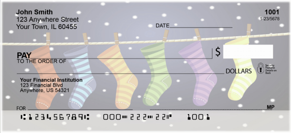 Holiday Stockings Personal Checks | XMS-13