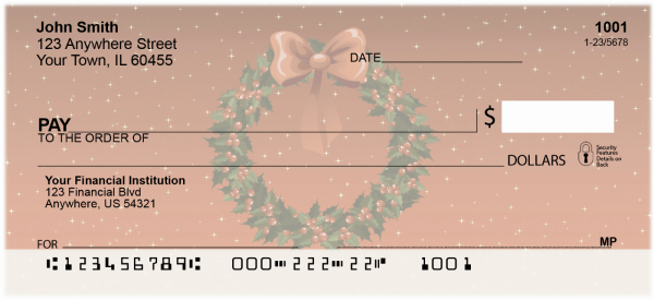 Holiday Wreath Personal Checks | XMS-18